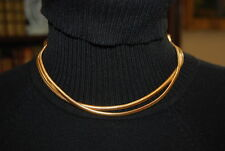 VINTAGE GOLD TONED METAL CHAIN NECKLACE WITH SIDE AMBER RHINESTONE PENDANTS