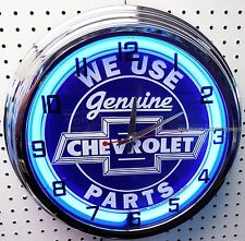 "17"" We Use Genuine CHEVROLET Parts Blue Sign Neon Clock Chevelle Camaro Chevy"