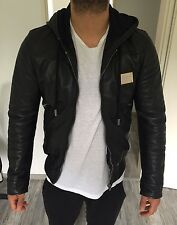 Dolce Gabbana D&G Hooded Logo Plate Lederjacke Leather Jacket Black 50 Wie Neu!