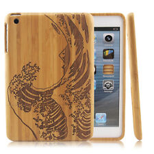 Waves Natural Bamboo Wood Wooden Hard Case Back Cover for Apple iPad Mini 1 2 3