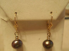 Freshwater Black Pearl Dangle Drop 14kt Yellow Gold Leverback Earrings