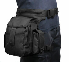 Black Canvas TACTICAL WAIST MULTI PACK with LEG STRAP - Airsoft Hunting Hip Bag