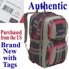 Jansport MERIT Laptop Backpack - GREY PLAID Travel School Bag Duffel Knapsack