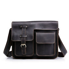Men Crazy Horse Genuine Leather Vintage Briefcase Messenger Laptop Bags Tote