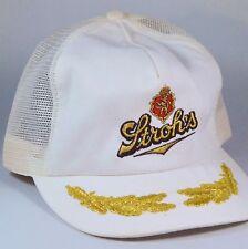NWOT STROHS Vintage Hat Cap One Size Snap Back White w/ Logo & Laurel Leaves