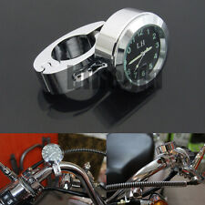 "Motorcycle Motorbike 7/8"" 1"" Universal Handlebar Bar Mount Clock Waterproof New"