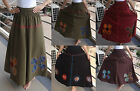 Vintage Panelled Applique Embellished Long Bohemian Gypsy Hippy Indie Boho Skirt