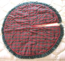 "HANDMADE QUILTED CHRISTMAS TREE SKIRT RED GREEN PLAID- 36"" DIAMETER"