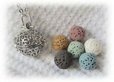 Small Rose Essential Oil Aromatherapy Diffuser Necklace with 6 lava stones!