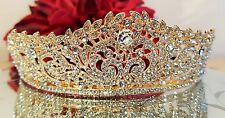 Brilliant Gold Plated Austrian Crystal Bridal, Prom tiara Sweet 16 Tiara W/COMB