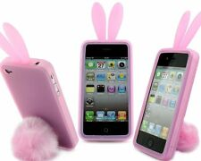 Pink Bunny Rabbit Rubber Skin Case Ear & Tail Fur for Apple iPhone 4S 4 4G NEW
