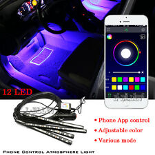 New 12LED Car Decorative Lights Interior Foot Mood Light With Phone App Control