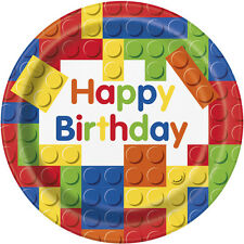 LEGO BUILDING BLOCKS LARGE PAPER PLATES (8) ~ Birthday Party Supplies Dinner