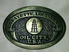 GREAT 1982 OIL CITY, USA LAFAYETTE, LA SOLID BRASS OILFIELD BUCKLE