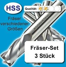 Fräser-Satz, D=4-5-6mm, Schaftfräser für Metall Kunststoff Holz, HSS Z=2