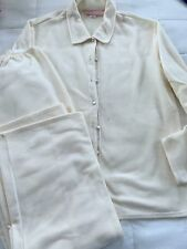 Victoria's Secret CREAM FLEECE AND SATIN Pajama  BEAUTIFUL SIZE M