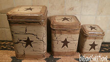 Primitive Crackle Tan & Brown Star Tin Canisters Set of 3 ~ Country Decor
