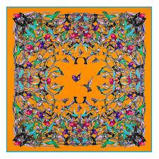 """Women's Black Birds Printed Twill Silk Shawl with Euro Style Big Scarf 51""""*51"""""""