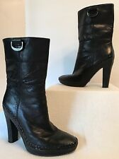 Cole Haan Nike Air Black Leather High Heeled Boots-Labeled 7.5/fits Like 8.5
