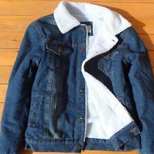 Retro Mens Fur Lining Jean Fleece Jacket Single-breasted Denim Coat Outwear New