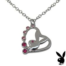 EASTER GIFT Playboy Necklace Bunny Heart Pendant Pink Crystals Platinum Plated