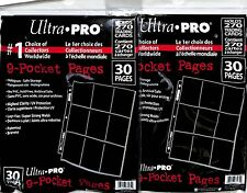 Ultra Pro 9 Pocket  Pages 30 pack lot of 500 pages