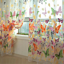 Newly Butterfly Sheer Curtain Window Door Panel Curtain Room Divider Voile Drape