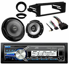 "Marine Radio, 98-2013 Harley FLHT Dash Kit, 6.5"" Kenwood Speakers & Adapters"