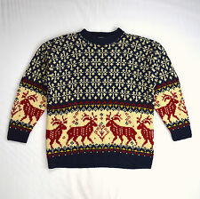 Thick Nordic Wool Reindeer Knit EDDIE BAUER Christmas Ski Lodge Sweater Jumper M