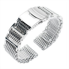 Wrist Watch Band 22mm Stainless Steel Strap Shark Mesh Cool Women Men Silver NEw