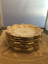 8 Antique Limoges A. Lanternier Petal Floral Gold Gilt Plates 1891-1914