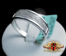 MEN'S NEW 14K WHITE GOLD FINISH SILVER0.16  GENUINE DIAMOND RING WEDDING BAND