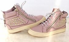 Giuseppe Zanotti Double Zip High Top Sneakers Women 9 Leather Gold Pink Studded