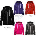 LADIES ZIPPER HOODIE SWEATSHIRT TOP WOMENS PLUS SIZE JUMPERS PLAIN JACKET 16-28
