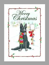 German Shepherd Dog Black Christmas Cards, Box of 16 Cards & 16 Envelopes