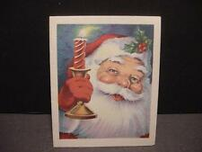 Vintage 1930s Christmas Folder Card w/SANTA Holding Candlestick; Holly on Hat