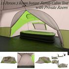 Ozark Trail 11 Person 3 Room Instant Cabin Family Large Tent Camping Green Beige
