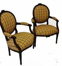 Pair of French Louis XVI Style Walnut Armchair  upholstered in  yellow fabric