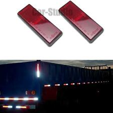 2x Red Plastic Reflective Warning Plate/Tape Stickers For Car Truck Safety