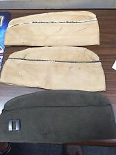 Lot Of 3 WW2 US Army Overseas Caps 2 Khaki w/ Captains Pin Green