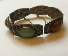 Antique Chinese Silver Ladies Filigree Jade Carnelian Tigers Eye Bracelet