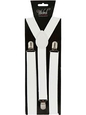 Elastic White Braces Mens Ladies 2.5cm Wide Slim Fancy Dress Suspenders