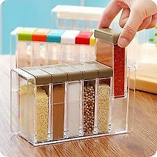 Spice Rack Jars 6Pc Plastic Box Kitchen Set Sugar Salt Pepper Storage Container.