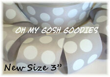 "3"" GRAY GREY WHITE CLASSIC JUMBO DOTS GROSGRAIN RIBBON 4 TIC TOC CHEER HAIRBOW"