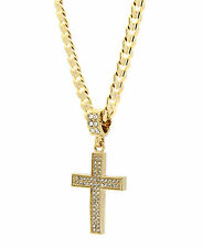 "Mens 14k Gold Plated Cz G4-Thin Cross Pendant Hip-Hop 24"" Cuban Necklace Chain"