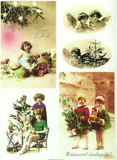 A/4 Soft Decoupage Paper Scrapbook Sheet Vintage Christmas Eve