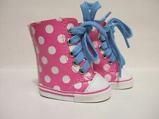 "*Hot Pink and White Dot Vinyl Hi-Tops - For American Girl & Other 18"" Dolls"