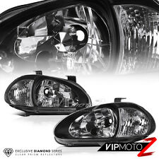 [CLEAR REFLECTOR] 1993-1997 Honda Civic Del Sol Black Headlights 1994 1995 1996