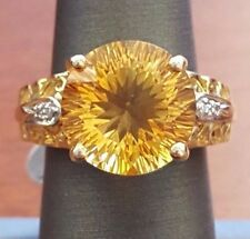 10K MULTI-COLOR WHITE & YELLOW GOLD ROUND CITRINE RING SIZE 6