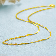 16.5inch New Pure Solid 999 24K Yellow Gold Chain Women Singapore Link Necklace